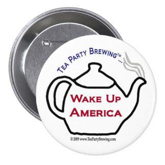 TP0101 despiertan el botón de América Pin Redondo De 3 Pulgadas