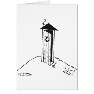 TP Rolls Away From an Outhouse Card