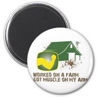 Trabajado en una granja imán redondo 5 cm