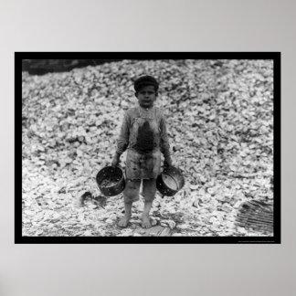 Trabajador 1911 del muchacho del camarón y de la o impresiones