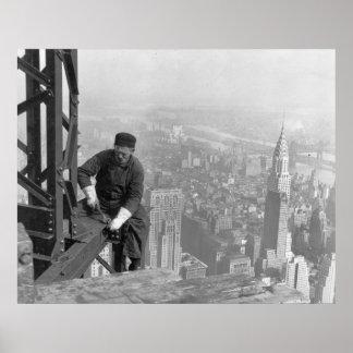 Trabajador de acero del contador de tiempo viejo póster