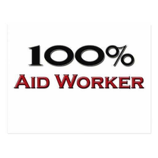 Trabajador de ayuda del 100 por ciento postales