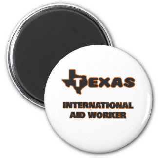 Trabajador de ayuda internacional de Tejas Imán Redondo 5 Cm