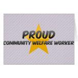 Trabajador de bienestar orgulloso de la comunidad felicitacion