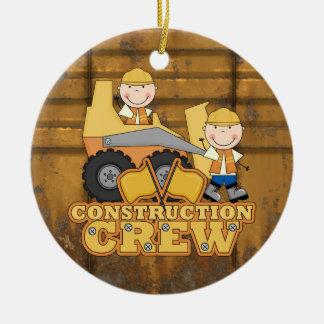 Trabajador de construcción adorno navideño redondo de cerámica