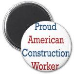 Trabajador de construcción americano orgulloso imán de frigorifico