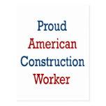 Trabajador de construcción americano orgulloso postales