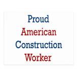 Trabajador de construcción americano orgulloso tarjetas postales