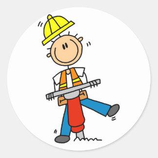 Trabajador de construcción con el martillo de Jack Pegatinas Redondas