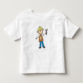 Trabajador de construcción con el martillo playera de niño