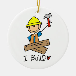 Trabajador de construcción construyo las camisetas adorno navideño redondo de cerámica