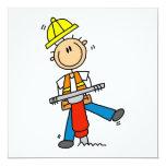 Trabajador de construcción construyo las camisetas invitación personalizada