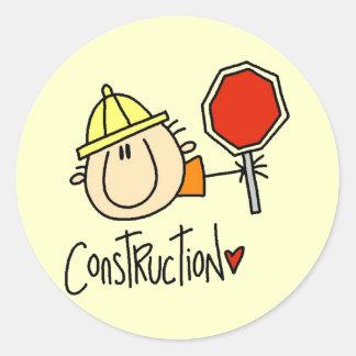 Trabajador de construcción de sexo masculino pegatina redonda