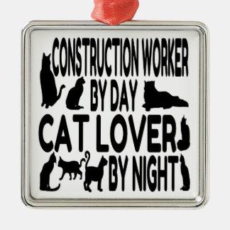 Trabajador de construcción del amante del gato ornamentos de reyes