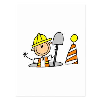 Trabajador de construcción en boca postales