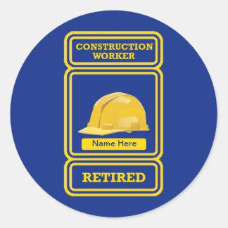 Trabajador de construcción orgulloso jubilado pegatinas redondas