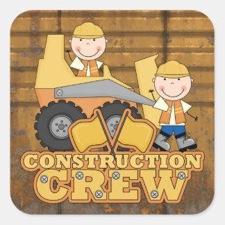 Trabajador de construcción pegatina cuadrada