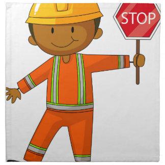 Trabajador de construcción servilleta de papel