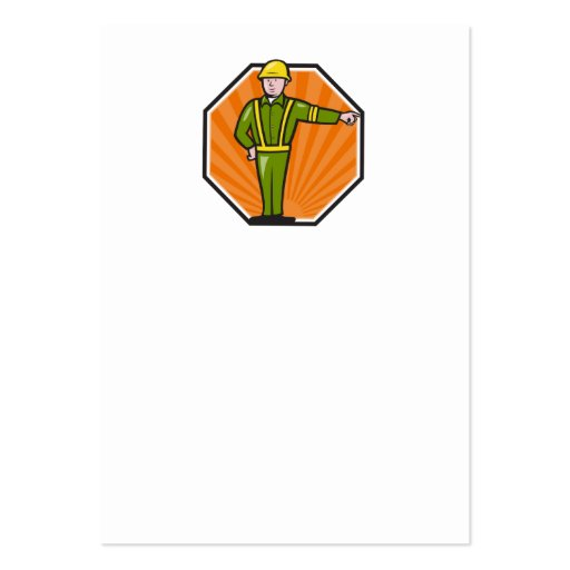 Trabajador de la emergencia que señala el dibujo a tarjeta de visita