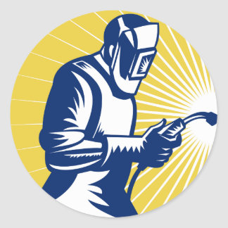 trabajador de la soldadura del soldador retro etiquetas redondas