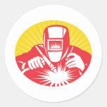 trabajador de la soldadura del soldador retro etiqueta redonda