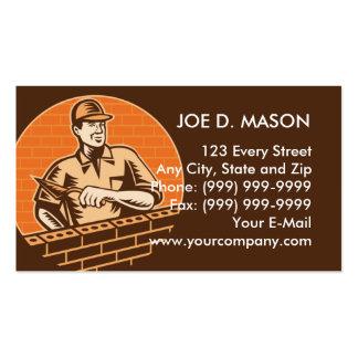 trabajador de ladrillo de la albañilería o yesero tarjetas de visita