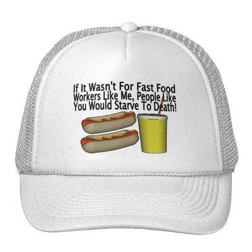 Trabajador de los alimentos de preparación rápida gorros