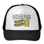 Trabajador de los alimentos de preparación rápida gorras de camionero