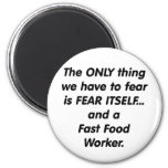 trabajador de los alimentos de preparación rápida  imán de frigorífico