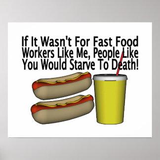 Trabajador de los alimentos de preparación rápida póster