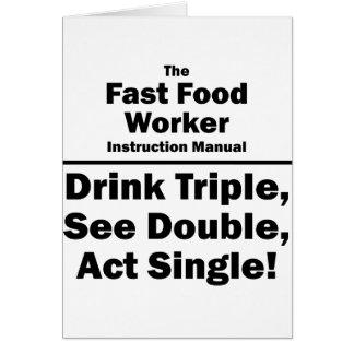 trabajador de los alimentos de preparación rápida tarjeta pequeña