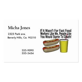 Trabajador de los alimentos de preparación rápida tarjetas de visita