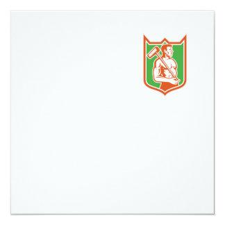 """Trabajador de unión con el escudo de la almádena invitación 5.25"""" x 5.25"""""""