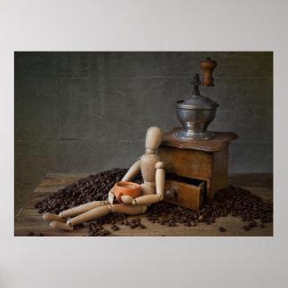 Trabajador del café impresiones