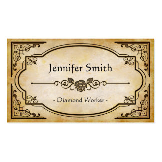 Trabajador del diamante - antigüedad elegante del tarjetas de visita