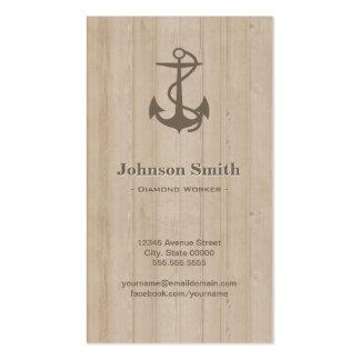 Trabajador del diamante - madera náutica del ancla tarjetas de visita