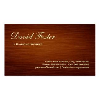 Trabajador del diamante - mirada de madera del tarjetas de visita