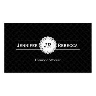 Trabajador del diamante - negro moderno del monogr tarjetas de visita