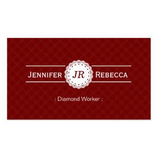 Trabajador del diamante - rojo moderno del monogra tarjetas de visita