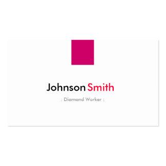 Trabajador del diamante - rosa color de rosa tarjetas de visita