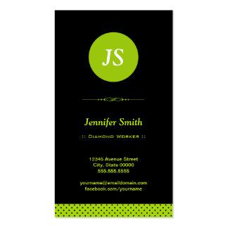 Trabajador del diamante - verde elegante tarjetas de visita