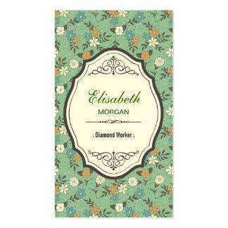 Trabajador del diamante - vintage elegante floral tarjetas de visita