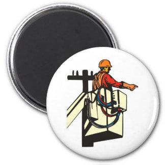 Trabajador del electricista del instalador de líne imán para frigorífico
