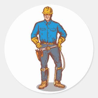 trabajador del electricista del instalador de líne pegatina redonda