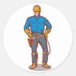 trabajador del electricista del instalador de pegatina redonda