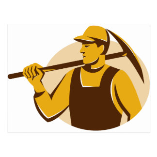 trabajador del minero con el hacha de la selección postal