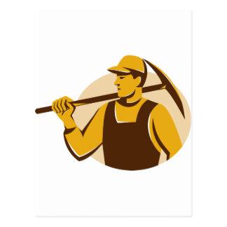 trabajador del minero con el hacha de la selección tarjetas postales
