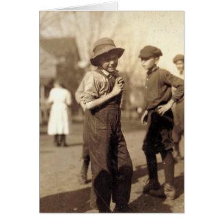 Trabajador del niño - diciembre de 1913 tarjeta de felicitación