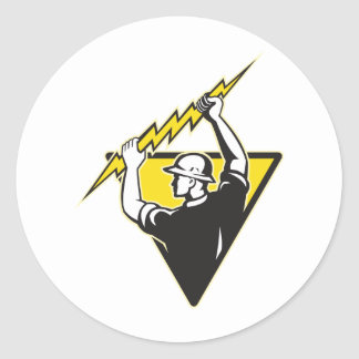 Trabajador eléctrico del electricista del instalad etiquetas
