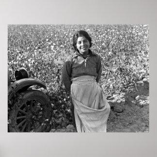 Trabajador emigrante al lado de un campo del algod póster